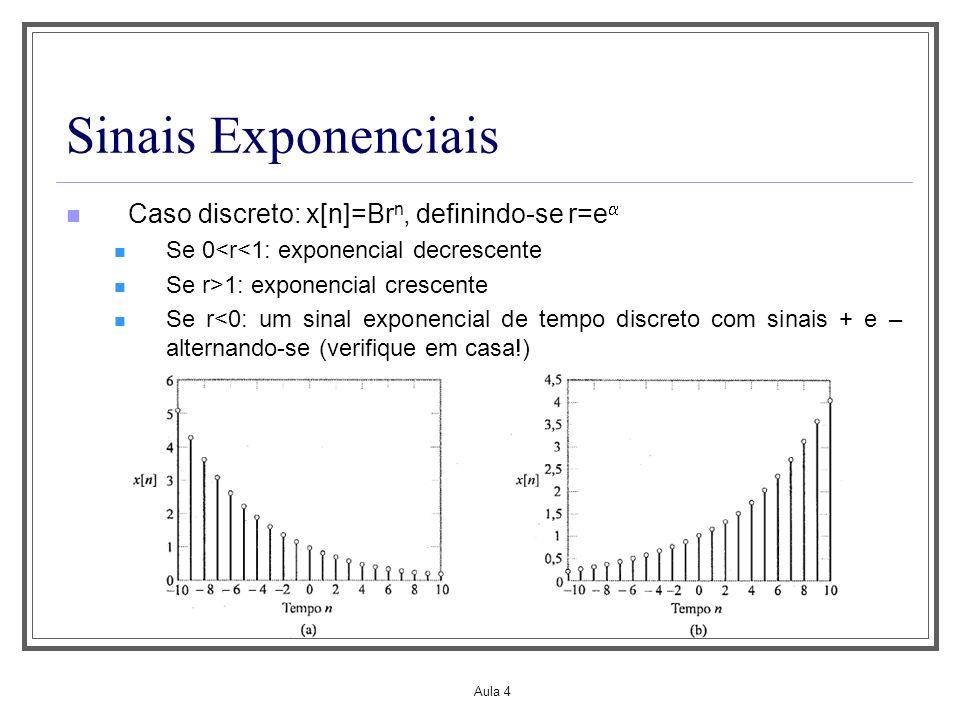 Sinais Exponenciais Caso discreto: x[n]=Brn, definindo-se r=e